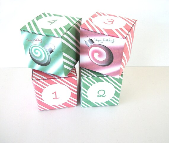 ... Red Green Peppermint Spearmint Ornament Printable Cube Favor Box