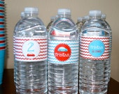 Aqua and Red Race Car- water bottle wrappers- print your own