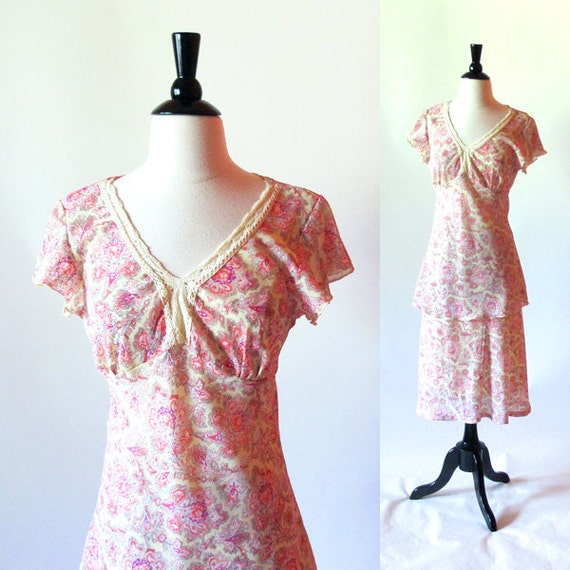 Pastel Pink Dress, 1970s Top and Skirt