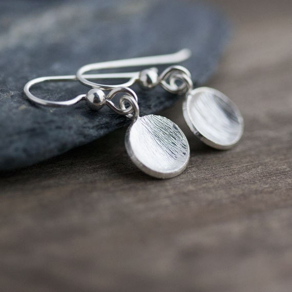 Simple Brushed Silver Disc Earrings / Curved Domed Sterling Silver Drops / Minimalist Everyday Jewelry