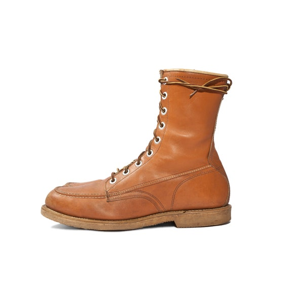 Lace Up Men's Work Boots Moc Toe Orange Brown Leather Iconic Americana Size 10 1/2 A