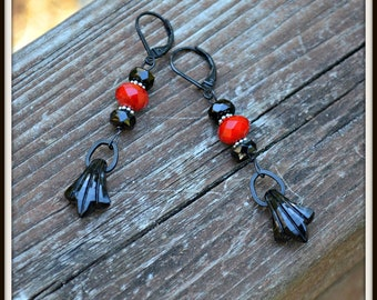 Gothic Romance Earrings black and red handmade earrings