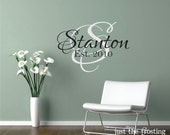 Wedding Vinyl Wall Decals Personalized Family Name, Family Vinyl Lettering, Vinyl Wall Art, Wedding Decal