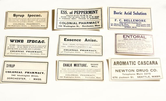 Antique Medicine Apothecary Pharmacy Labels (No.11) from 1890s (Set of 9 labels) - Paper Crafts, Altered Art, Halloween Decor and more