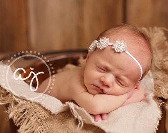 BEJEWELED Headband..White Baby Headband..Newborn Baby Girl Photo Prop..Baptism..Christening..Baby Girl Rhinestone Headband..Infant Headband