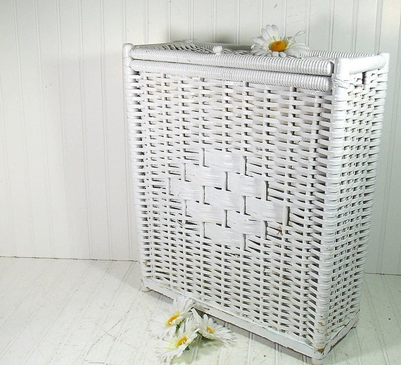 Vintage White Wicker Amp Wood Rectangular Hamper By Divineorders