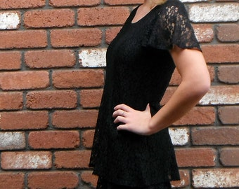 Black Lace Boho Butterfly 90s Mini Dress