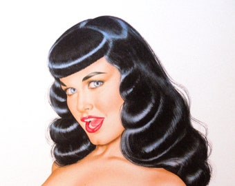Bettie Page artwork by Olivia Berardinis Pretty Peepers the retro pin up queen of the 1950's