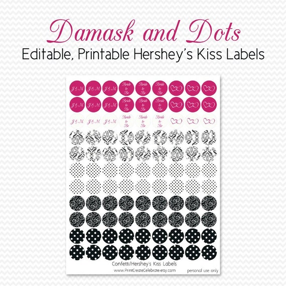 Chocolate Candy Labels, Black & White Damask and Dot with Hot Pink, Bridal Shower Favor, Birthday Party -- Editable, Printable, Instant