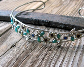 New Lower Price!  Vintage Biceps Cuff in Silvertone Wire with Multicolor Sparkly Flowers and Rhinestones