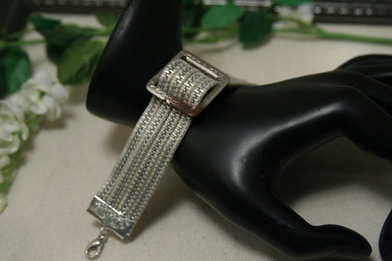 Zipper Cuff Bracelet - made with white zippers and a vintage buckle