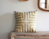Doha pillow cover hand printed in metallic bronze gold on natural organic hemp 20x20 - melongings