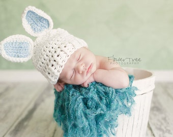 Newborn Bunny Hat, Newborn Photo Prop, Newborn Easter, Boy Bunny Hat, Easter Hat, Easter Bunny Hat, Newborn Boy Hat, Crochet Baby Hat
