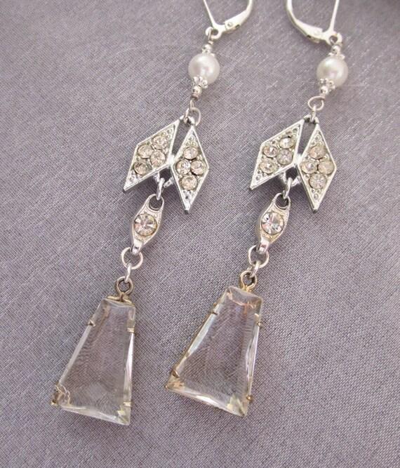 Art Deco Earrings, Rhinestone Pearl Silver Earrings, Chandelier Earrings, Bridal Earrings, Handmade Repurposed Eco Jewelry - JryenDesigns