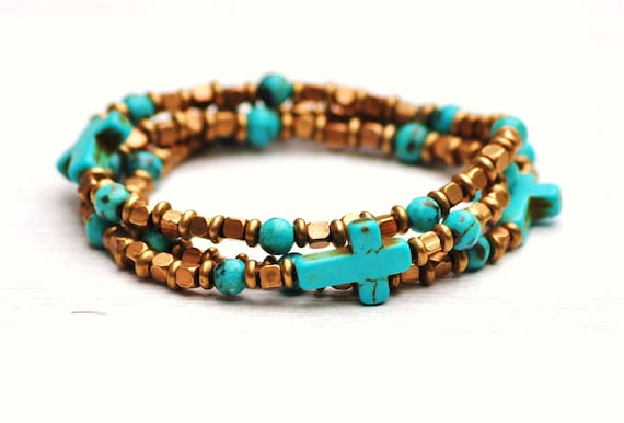 TURQUOISE CROSS Stacking Tribal Brass Bead Bracelets by Moondrops /// Three Crosses /// Spiritual Jewelry Gift for Her