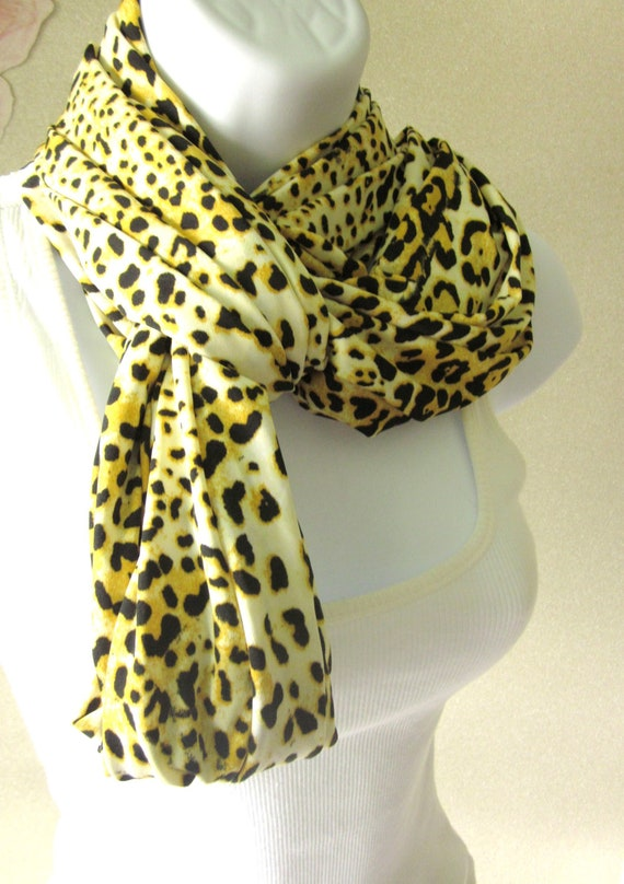 Yellow  Leopard Infinity Scarf Animal Print Double Loop Scarf Summer Fashion Handmade by Thimbledoodle