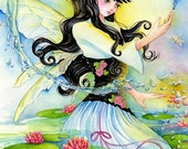 "Fairy Art Print ""Water Lily Fae"" Fantasy Art 2 Paper Sizes"