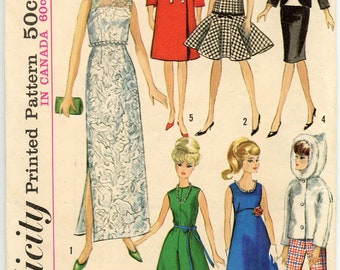 1960s Vintage Sewing Pattern Simplicity 6208 Barbie Doll Wardrobe