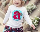 Girl's Monogram Shirt with Custom, Hand-made Initial Applique -- Great for School and Birthday Parties