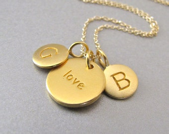 2 Gold Initials & Love Charm Necklace - Personalized