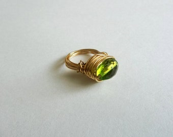 size 5 peridot wire wrapped ring