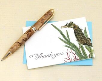 Seahorse Thank You Notes, Beach Thank You Cards, Nautical Thank You Note Cards, Aquarium Thank You