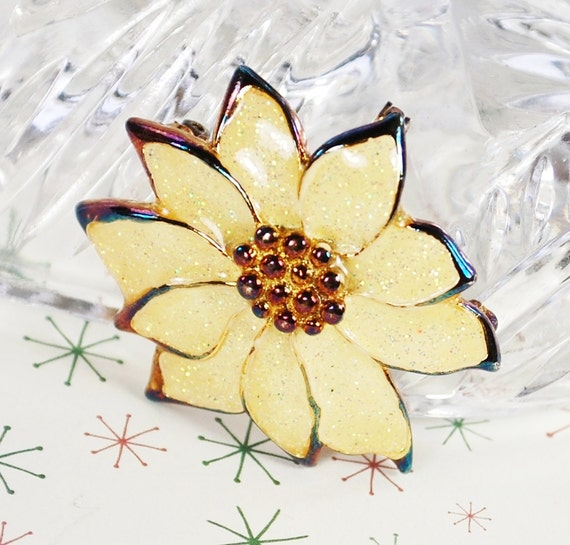 Vintage Christmas Brooch Pin, Necklace Pendant, Cream Glitter Enamel, Poinsettia Flower, Iridescent Pink Blue, 1980s Holiday Floral Jewelry