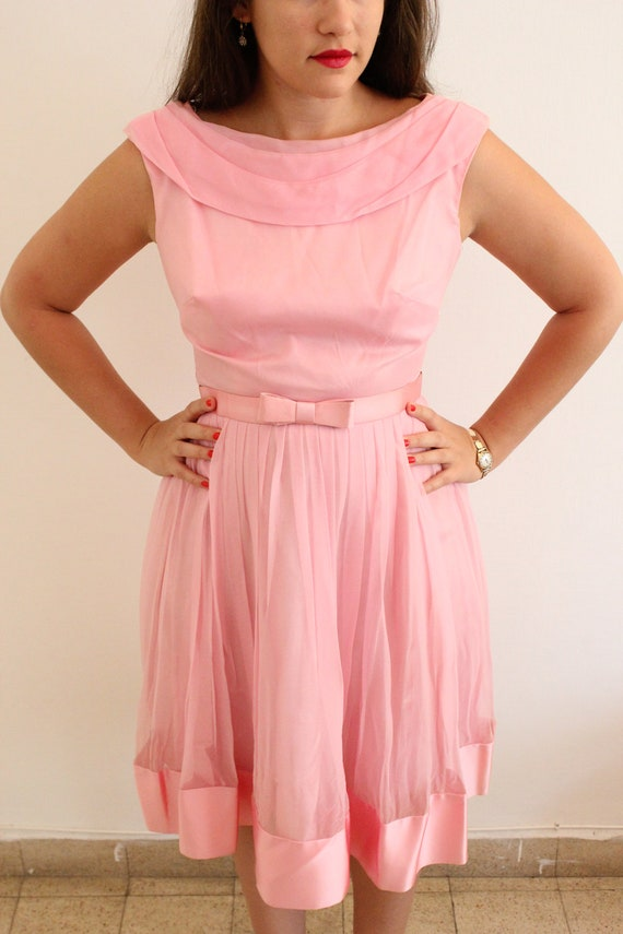 1950s Pink Chiffon Pleated Party Prom Dress With Bow Belt