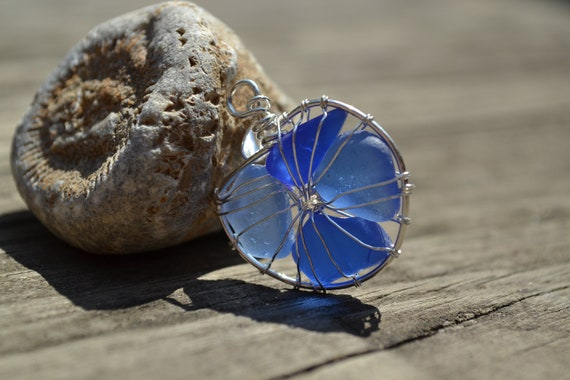 Sale- Blue Genuine Sea Glass Silver  Wire Wrapped Nautilus Shell Pendant with chain