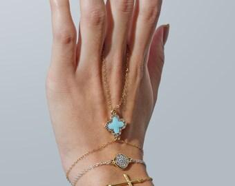 24k Gold Swarovski Crystal Clover Hand Chain Slave Bracelet - Turquoise