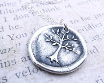 Tree of Life wax seal pendant jewelry made from fine silver, custom made to order for Valentine's day