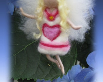 Rosi - Needle Felted Wool guardian angel, Waldorf inspired fairy doll, wool