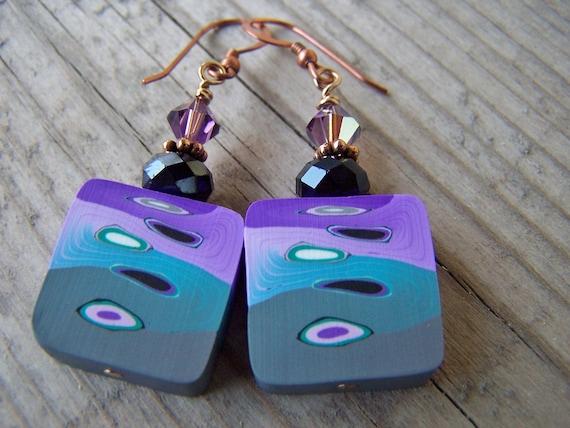 Polymer Clay Copper Swarovski Purple Green Earrings