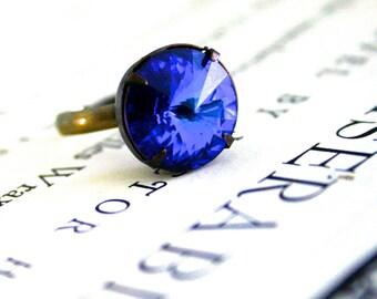 Clearance - Vintage Bermuda Blue Glass Rivoli Jewel Ring, Oxidized Brass, Fall Fashion, Deep Blue, Pointed Jewel Ring, Pop of Color
