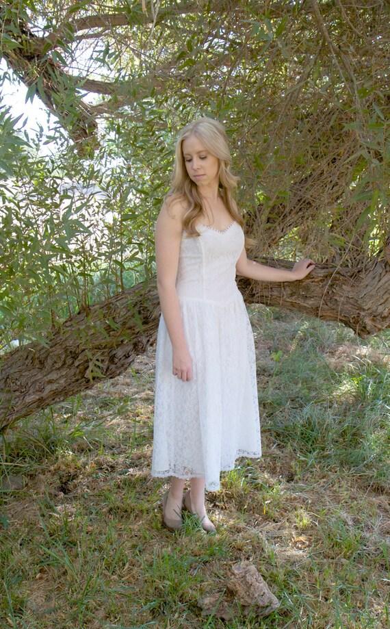 Vintage Wedding Dresses Bath : Bridal shower dresses white lace strapless tea length vintage dress