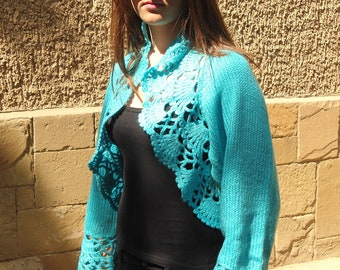Knitted Turquoise Shrug, Women Long Sleeves Bolero, Knitted Turquoise Bolero,  Delicate Romantic Clothes, Lace Chic Bolero READY TO SHIP