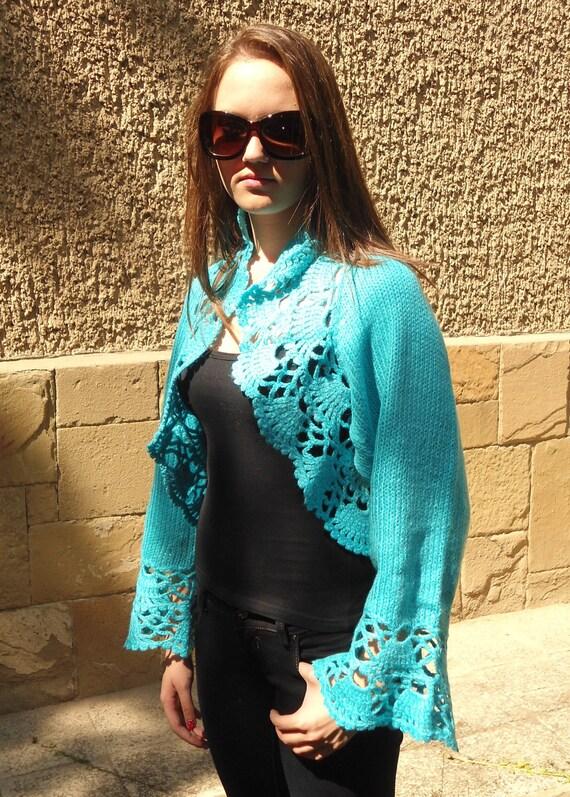 Knitted Turquoise Shrug, Women Long Sleeves Bolero, Knitted Turquoise Bolero,  Delicate Romantic Clothes, Lace Chic Bolero READY TO SHIP