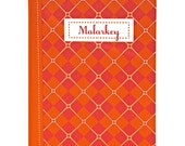 "Argyle Jotter, Captioned ""Malarkey"", Orange, Bright Magenta, Pattern, Blank Pages"