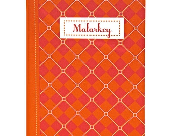 "Argyle Jotter, Captioned ""Malarkey"", Orange, Bright Magenta, Pattern, Blank Pages"