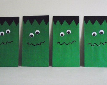 Set of Eight Frankenstein Monster Goodie Bags - Frankenstein Monster Halloween Goodie Bags - Frankenstein Goodie Bags - Halloween Goodie Bag