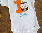 First birthday boy owl bodysuit, you choose the colors you'd like