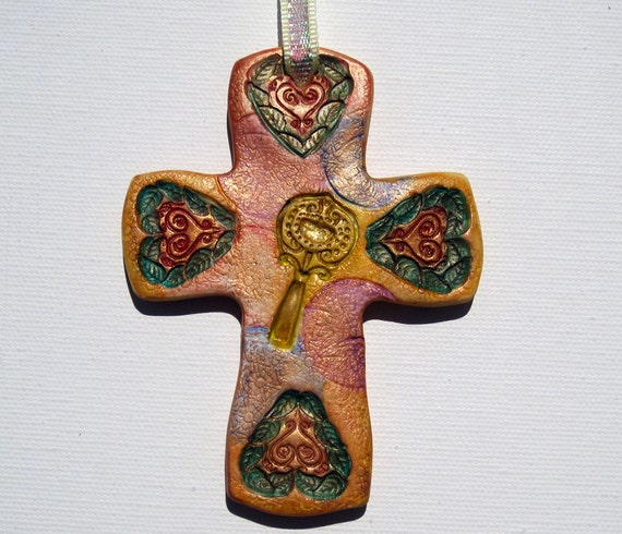 """Cross Key Hearts Multi Color Painted Polymer Clay One Of A Kind 4"""" x 3"""" Spiritual Gift Decorative Wall Cross"""