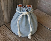 Bucket Bag Denim & John Deere Brown Orange Upcycled Blue Jeans Travel Tote Small Toy Bag  - US Shipping Included