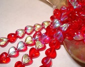 Czech Glass Transparent Red Puff  Heart beads with Aurora Borealis 8mm