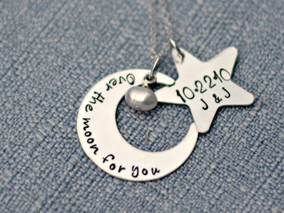 Hand Stamped Necklace - Personalized Sterling Silver Necklace - Over the Moon - Custom Jewelry by Three Little Pixies