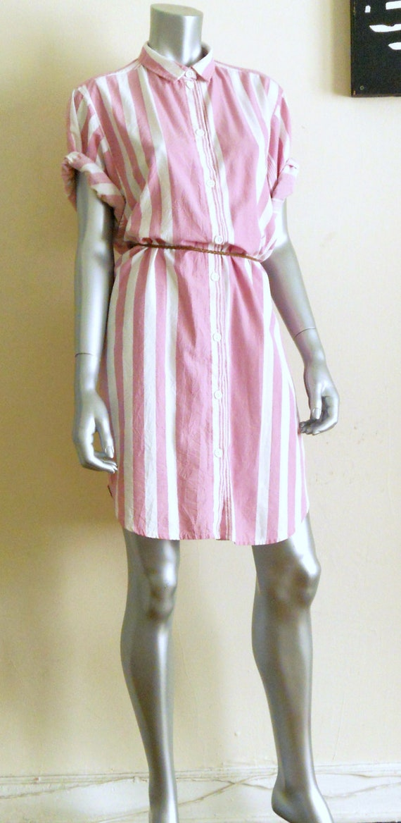 Sale Pink And White Striped Cotton Shirt Dress
