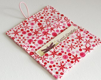READY to SHIP - Red & White Flakes Fabric Mini Wallet - with Button and Closure. Business Card Holder, Credit Card Wallet, Small Wallet.