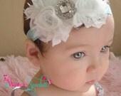 Baby headband...white flower headband, baby headband, baby girl hedband, newborn headband, baptism