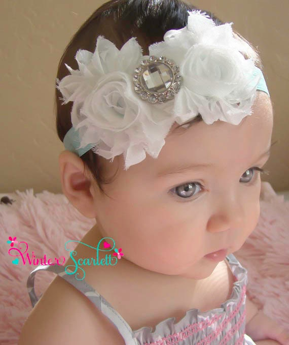 Baby Headband White Flower Headband Baby By Winterscarlett