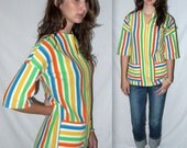 Vintage 60s 70s Mod Womens Top Shirt Swim Cover Up Coverup Mad Men Zip Front Colorful Pointelle Open Weave Tunic Hipster / S M